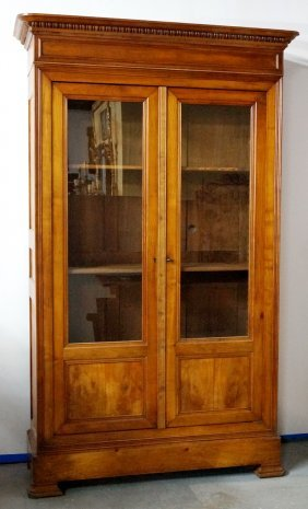 French Fruitwood Glass Door Bookcase