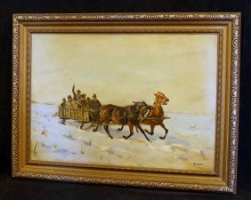 "Oil On Canvas Painting ""snow Scene With Troika"""