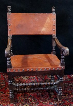 Leather Upholstered Jacobean Arm Chair