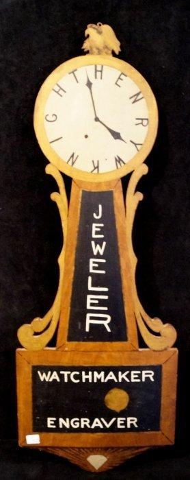 Vintage Banjo Clock Shaped Henry W. Knight Watchmaker