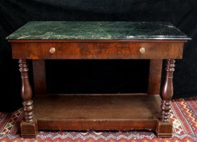 Marble Top English Pier Table W/drawer