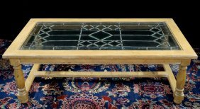 Distressed Leaded Glass Top Coffee Table