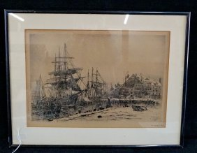 "Framed Engraving ""harbor Scene"" Sgn. F. Leo Hunter"