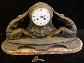 Figural Art Deco Clock On Marble Base