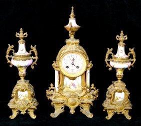 3 Pc. Metal & Porcelain Clock Garniture