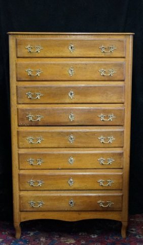 Late 19th C. Country French Style Silk Lined Fruitwood