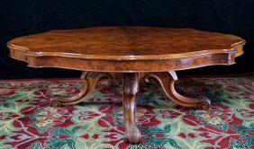 Victorian Turtle Top Burled Low Table