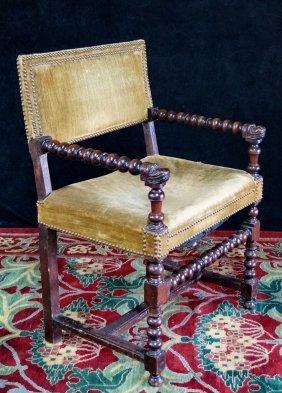 Figural Barley Twist Open Arm Chair