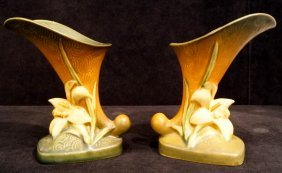 "Pr. Roseville ""zephyr Lily"" Cornucopia Vases"
