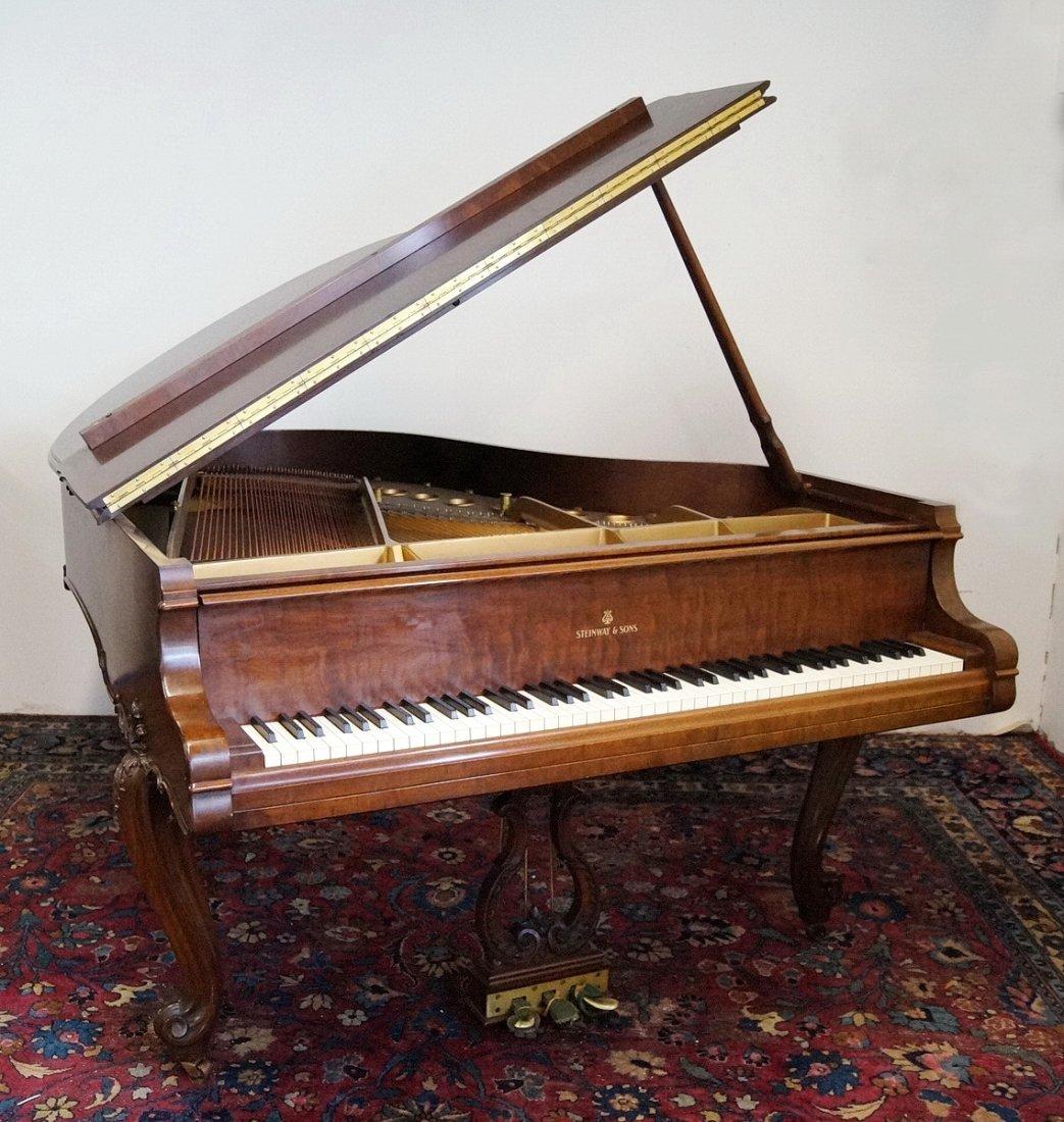 STEINWAY & SONS LOUIS XV STYLE WALNUT GRAND PIANO MODEL