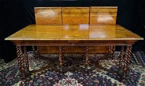 SCHMIEG & KOTZIAN INLAID MAHOGANY BARLEY TWIST TABLE