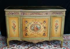 LOUIS XV STYLE VENETIAN DECORATED MIRROR TOP COMMODE