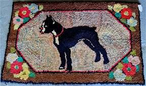 VINTAGE HOOKED RUG DOG