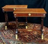 PR REGENCY BRONZE MOUNTED LYRE BASE SIDE TABLES