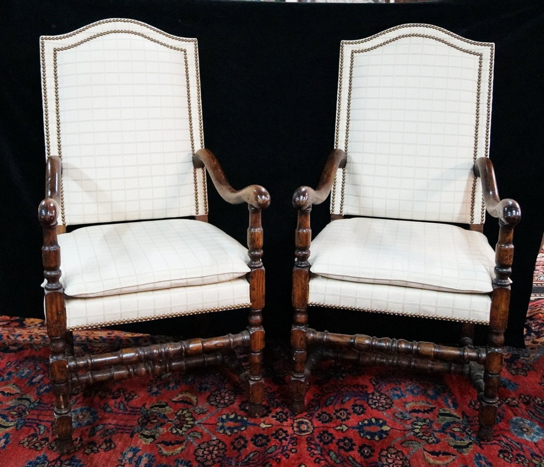 PR. JACOBEAN STYLE OPEN ARM CHAIRS