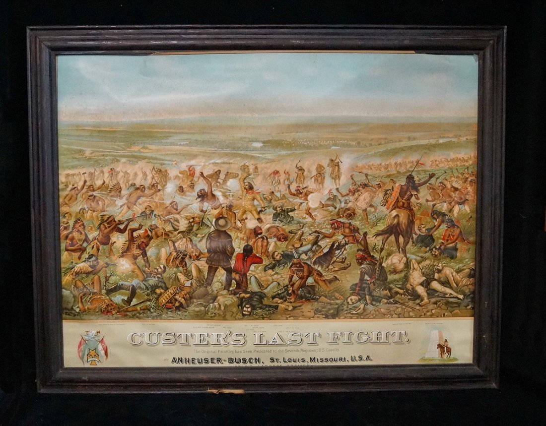 FRAMED LITHOGRAPH CUSTERS LAST STAND ANHEUSER BUSCH