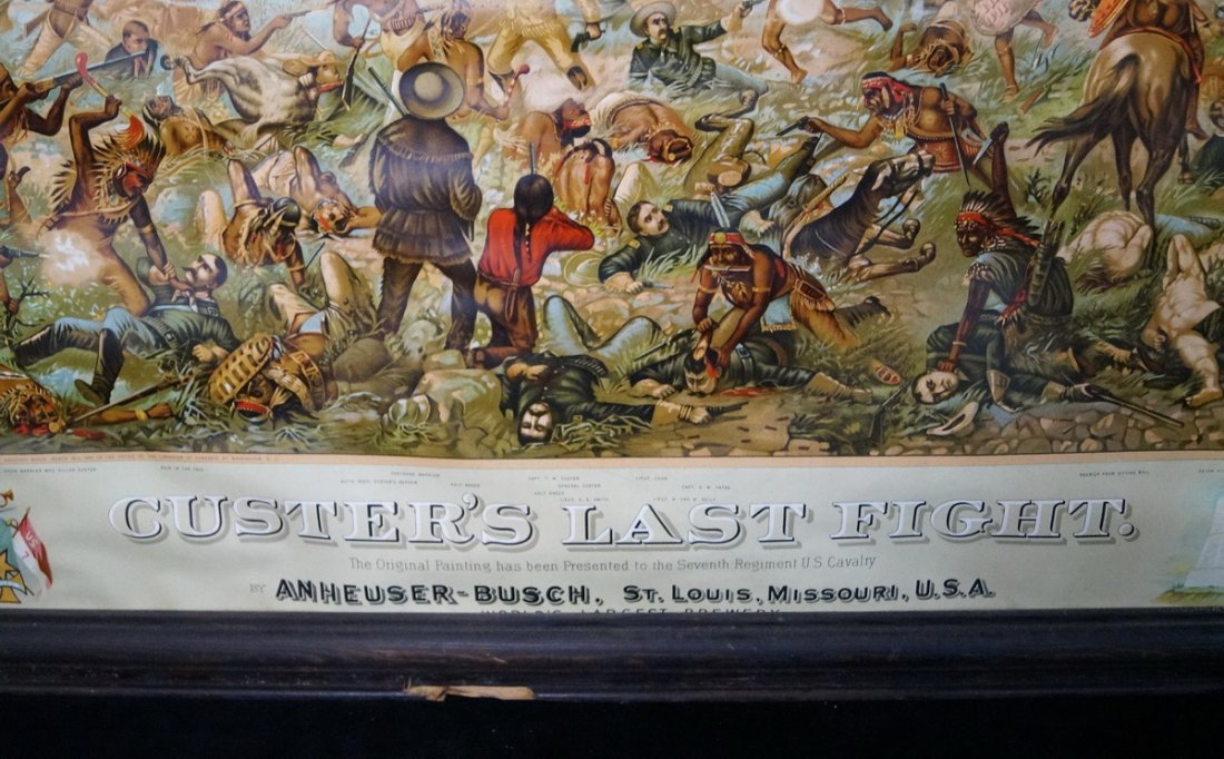 FRAMED LITHOGRAPH CUSTERS LAST STAND ANHEUSER BUSCH - 3