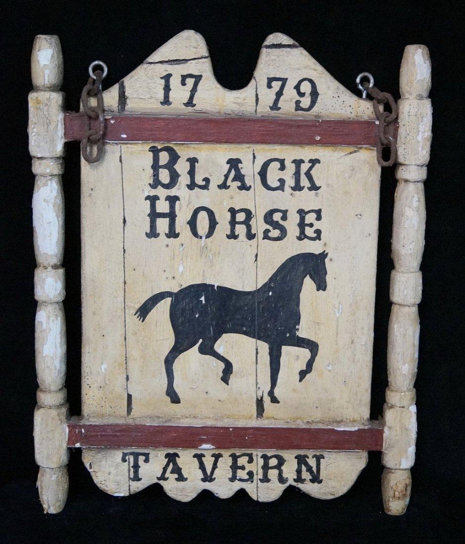 "PAINT DECORATED WOOD SIGN ""BLACK HORSE TAVERN"""