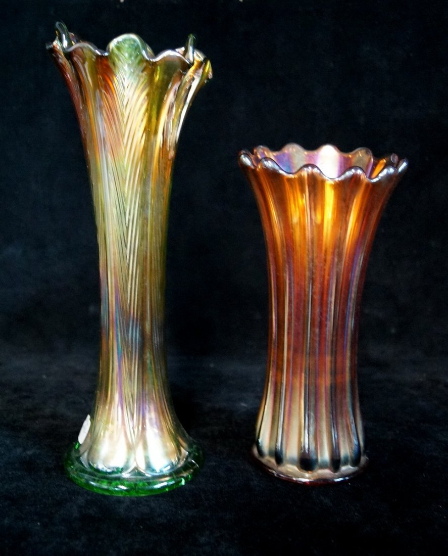 6 CARNIVAL GLASS VASES - 3