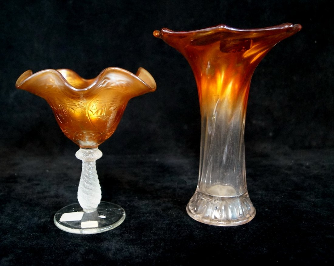 6 CARNIVAL GLASS VASES - 4