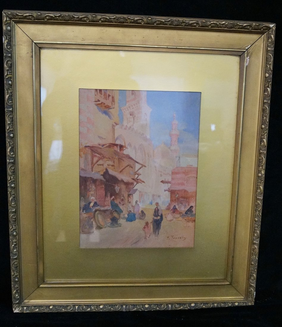 GILT FRAME WATERCOLOR ORIENTALIST SGN. FURCOLLA