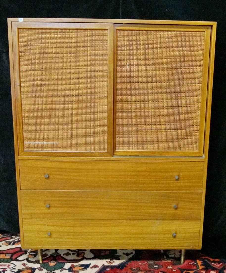 HARVEY PROBBER TALL CHEST OF DRAWERS W /CANING