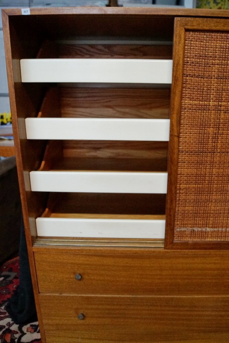 HARVEY PROBBER TALL CHEST OF DRAWERS W /CANING - 2