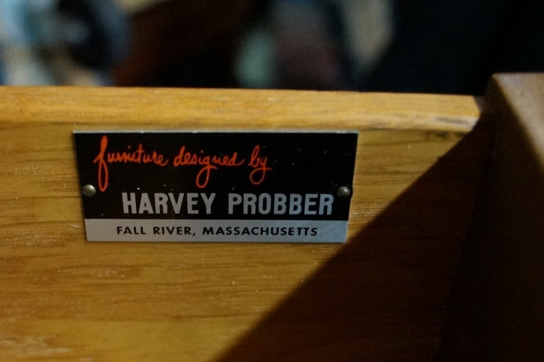 HARVEY PROBBER TALL CHEST OF DRAWERS W /CANING - 6