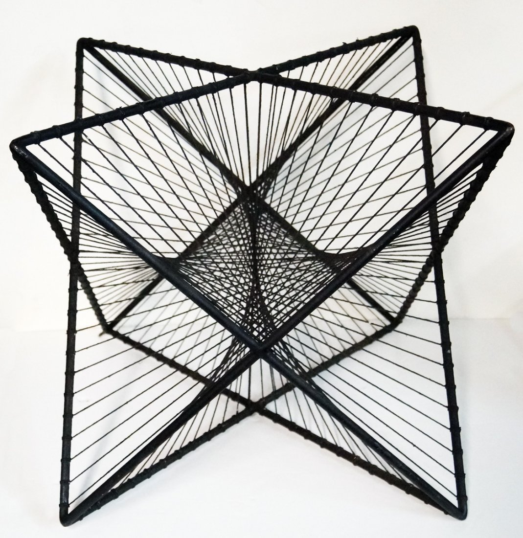 MID CENTURY METAL STAR TABLE BASE IRON AND STRING