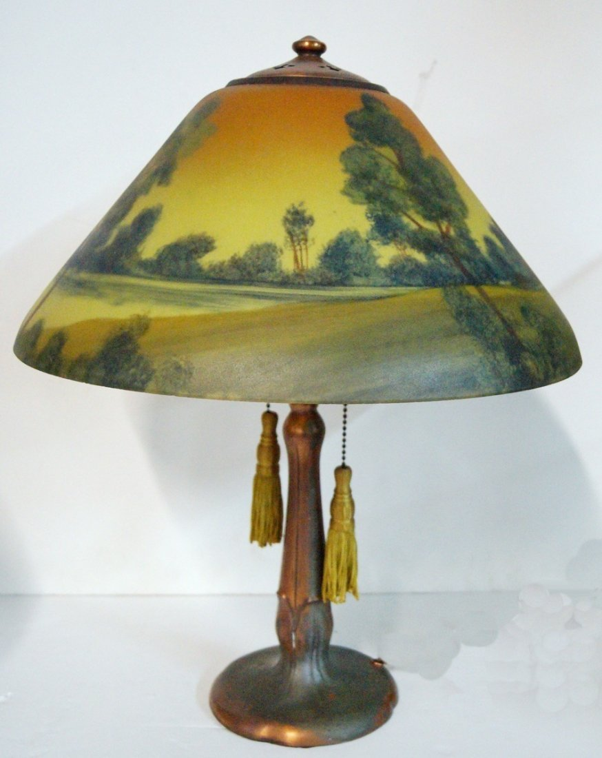 REVERSE PAINTED TABLE LAMP  SGN. HANDEL