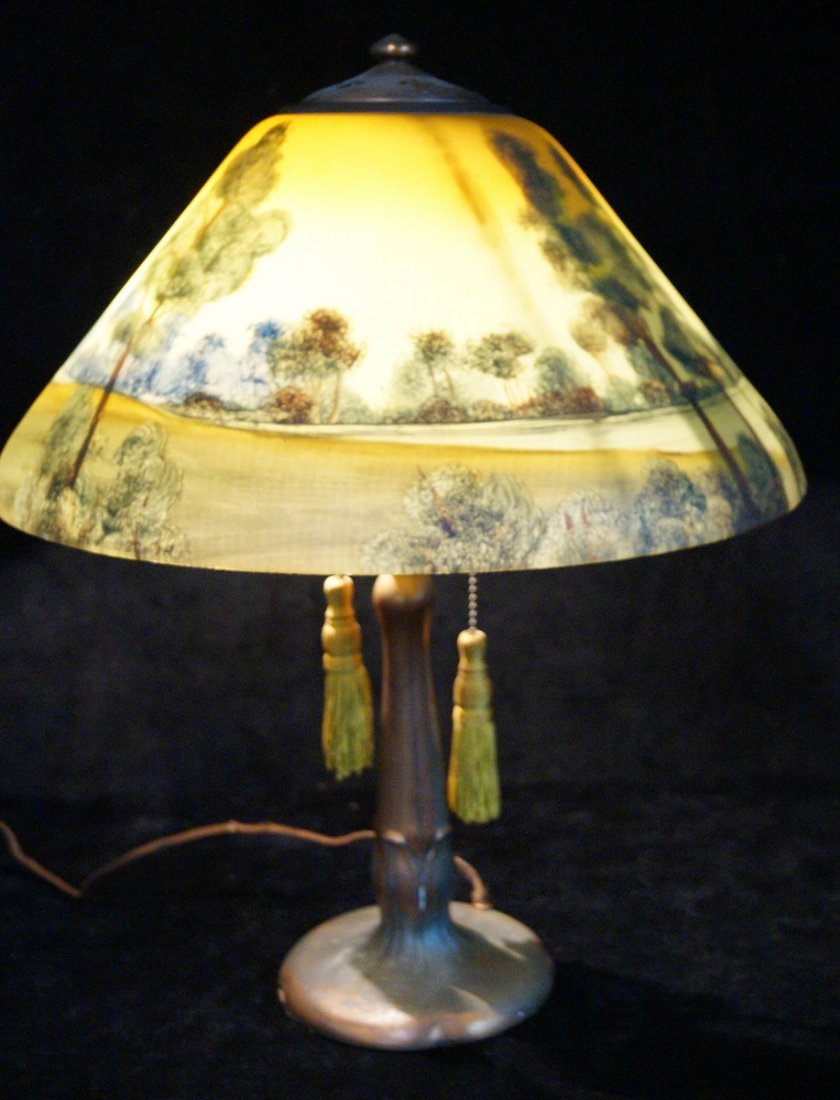 REVERSE PAINTED TABLE LAMP  SGN. HANDEL - 2