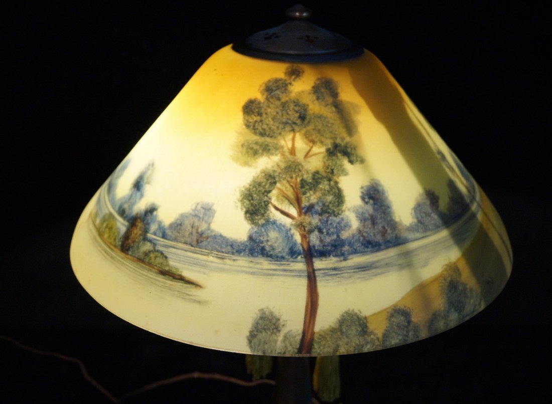 REVERSE PAINTED TABLE LAMP  SGN. HANDEL - 5