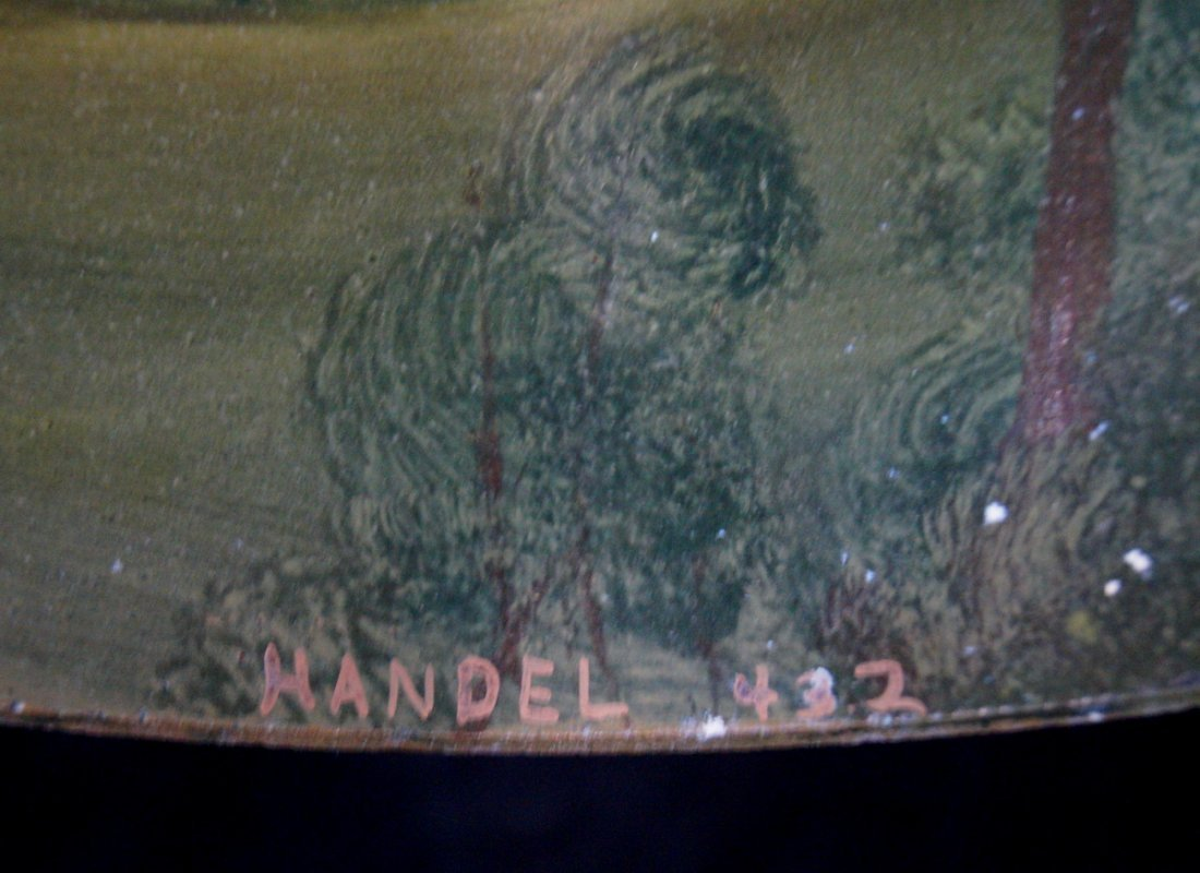 REVERSE PAINTED TABLE LAMP  SGN. HANDEL - 7