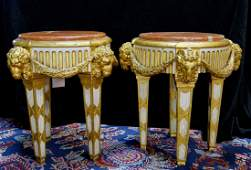 PR. 19TH C. GILT RAMS HEAD MARBLE TOP SIDE TABLES