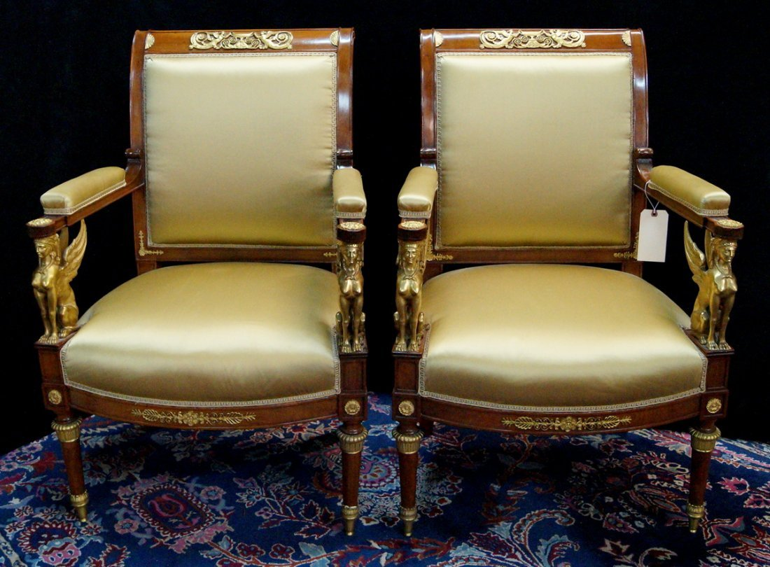 PR. 19TH C. EMPIRE FAUTEUILS W/ WINGED GRIFFINS