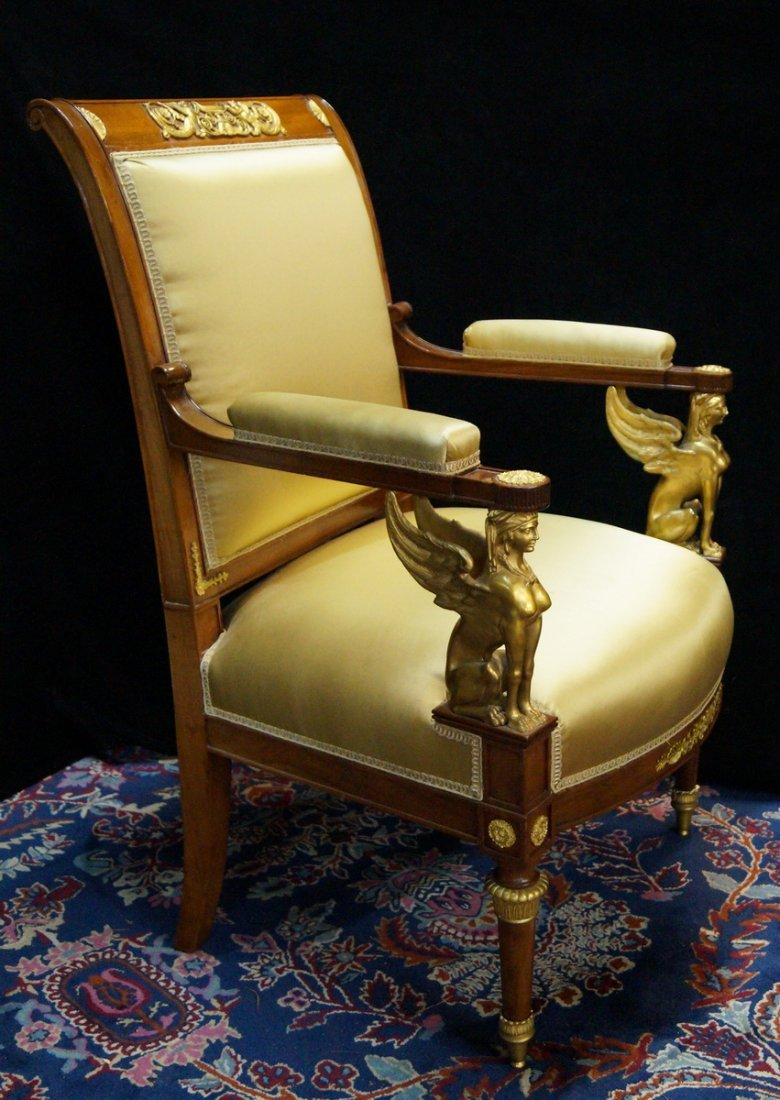 PR. 19TH C. EMPIRE FAUTEUILS W/ WINGED GRIFFINS - 2