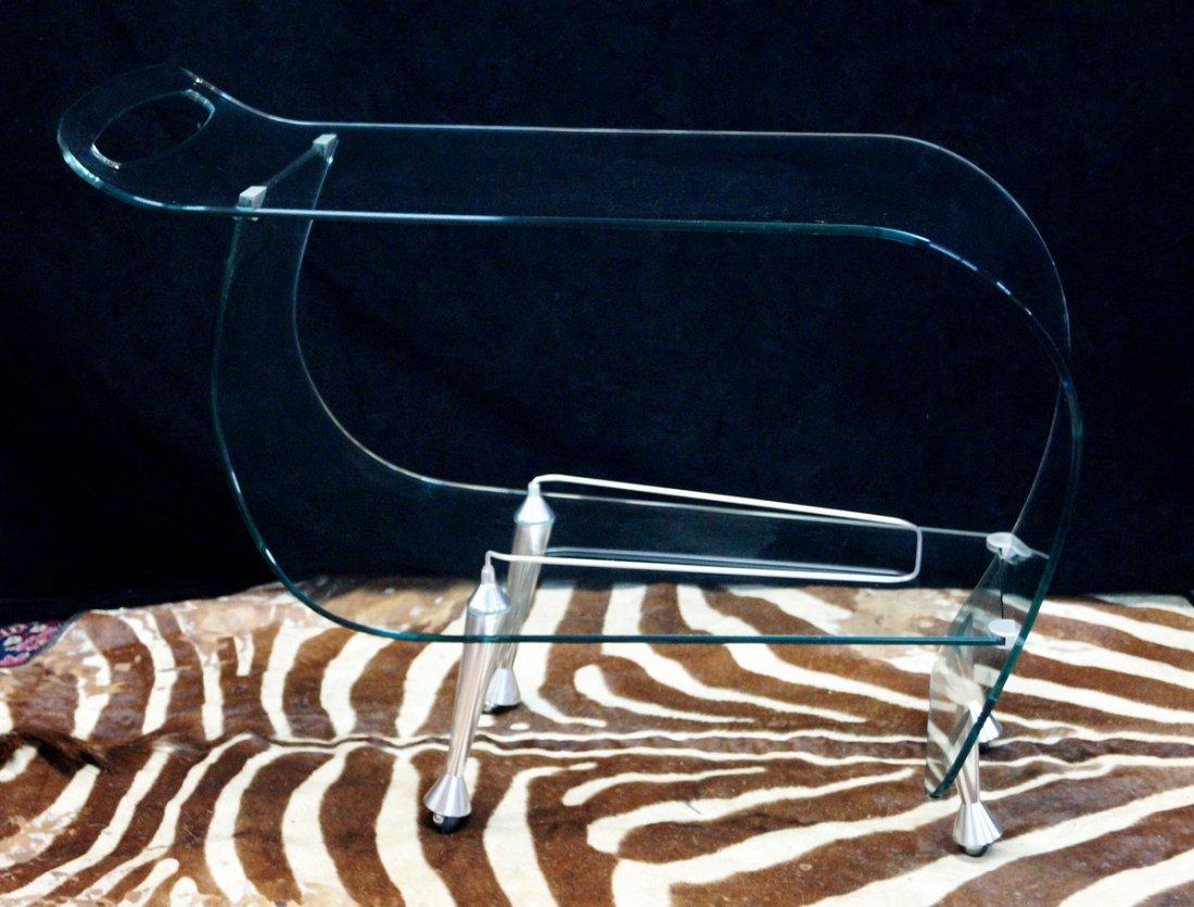 FIAM ITALIA GLASS & STEEL BAR CART CIRCA 1980