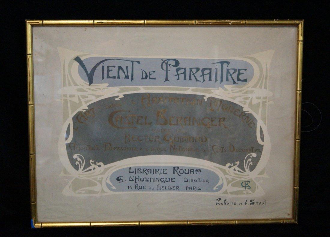 """ART NOUVEAU POSTER """"VIENT DE PARAITRE BERANGER GUIMARD"""""""