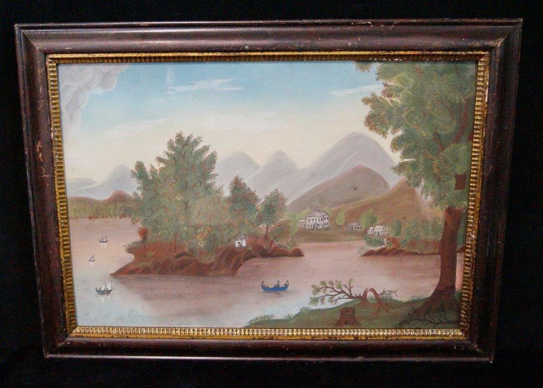 19TH C. CHALK HUDSON RIVER LANDSCAPE