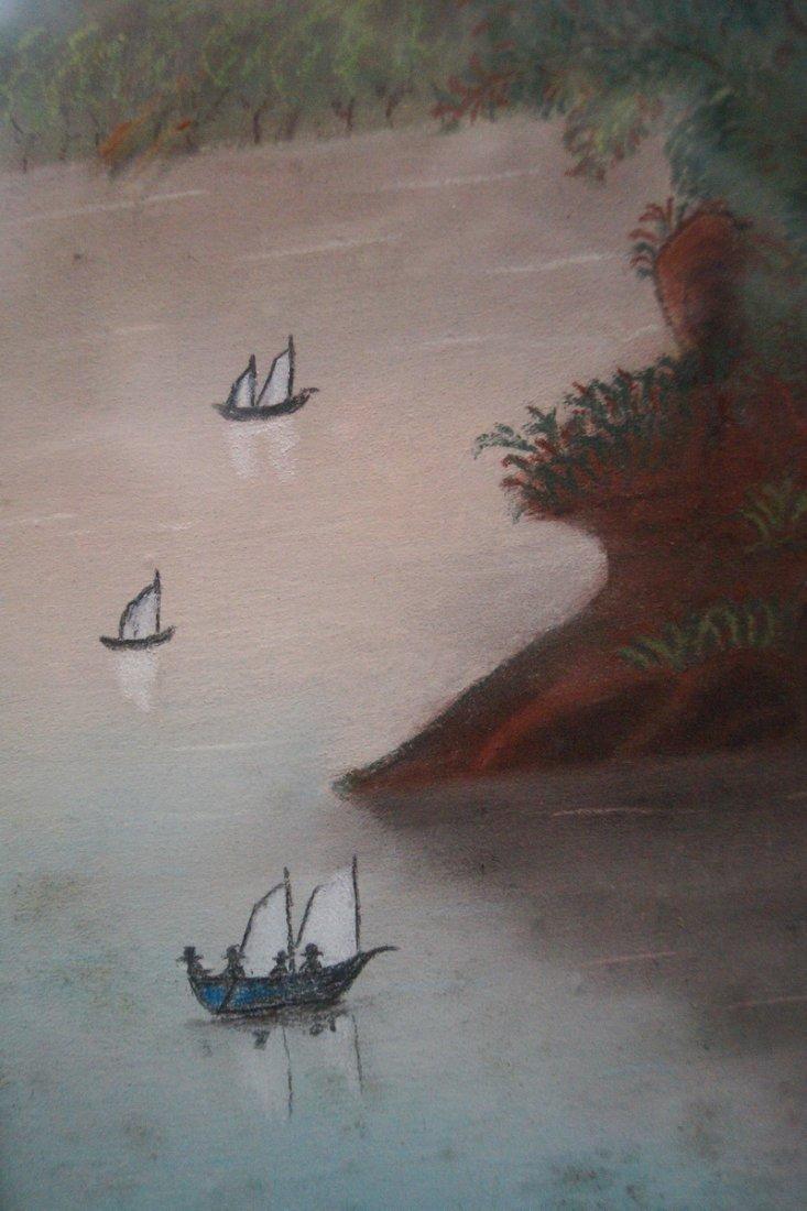 19TH C. CHALK HUDSON RIVER LANDSCAPE - 3