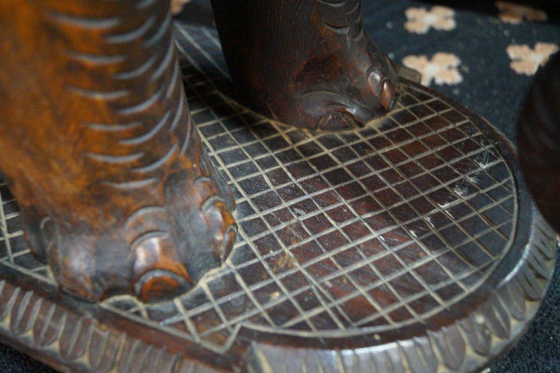 CARVED WOOD ELEPHANT STOOL - 4