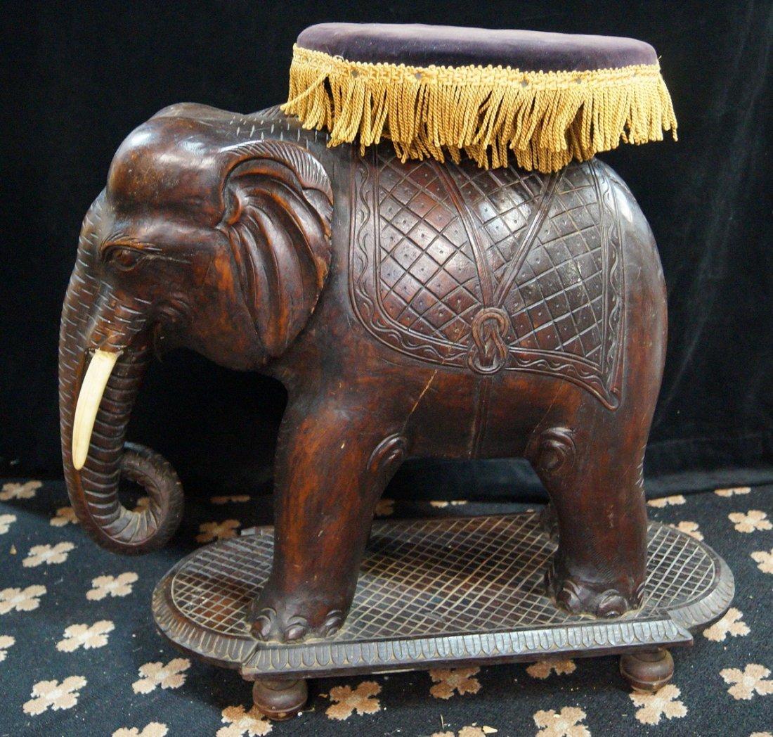 CARVED WOOD ELEPHANT STOOL - 7