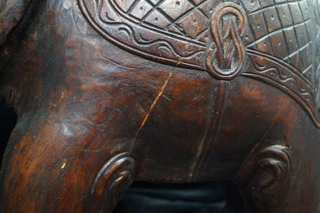 CARVED WOOD ELEPHANT STOOL - 8