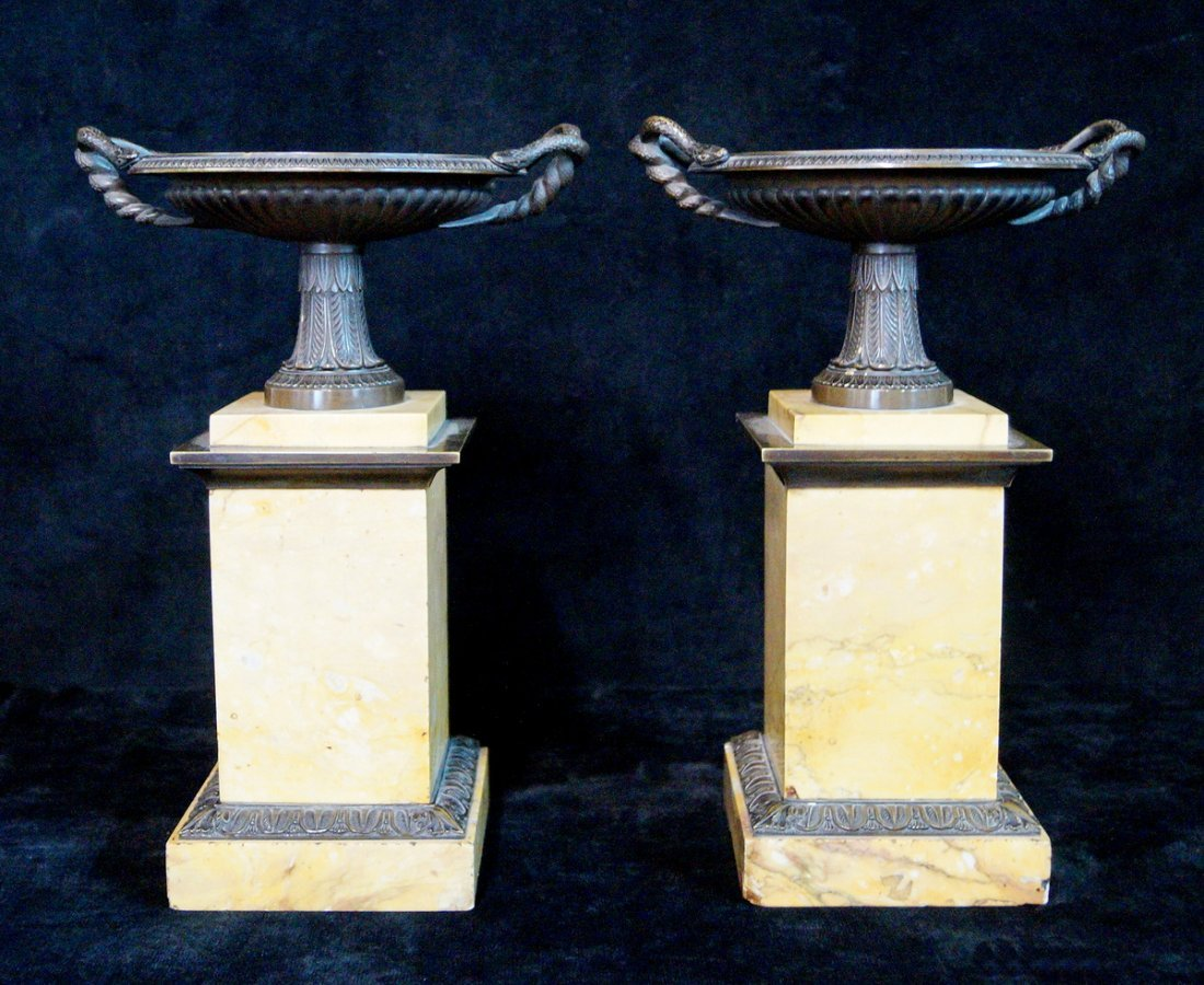 PR. MARBLE & BRONZE TAZZAS W/ SNAKE WITH HANDLES