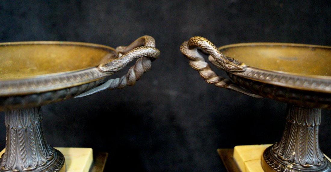 PR. MARBLE & BRONZE TAZZAS W/ SNAKE WITH HANDLES - 3