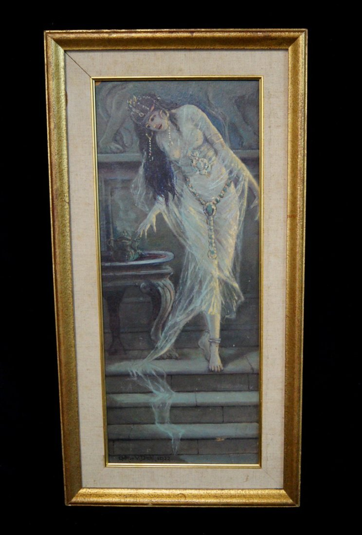 "FRAMED O/B ""ORIENTALIST FEMALE"" SGN. DIEHL 1922"