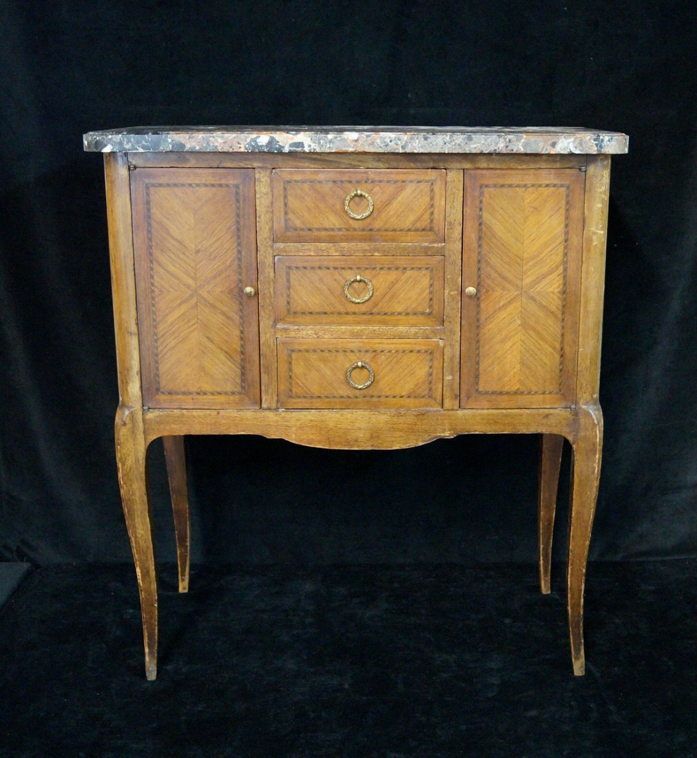 LOUIS XV STYLE MARBLE TOP NIGHT STAND