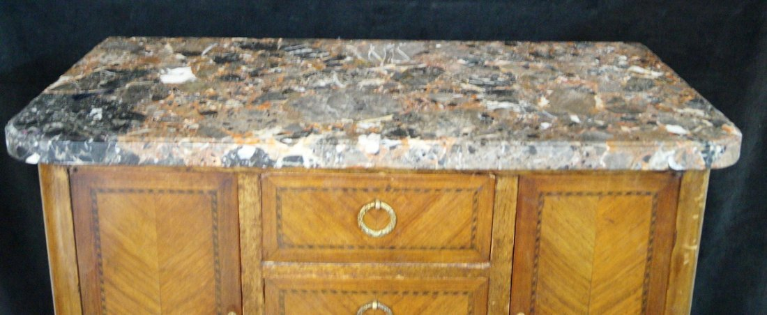 LOUIS XV STYLE MARBLE TOP NIGHT STAND - 4