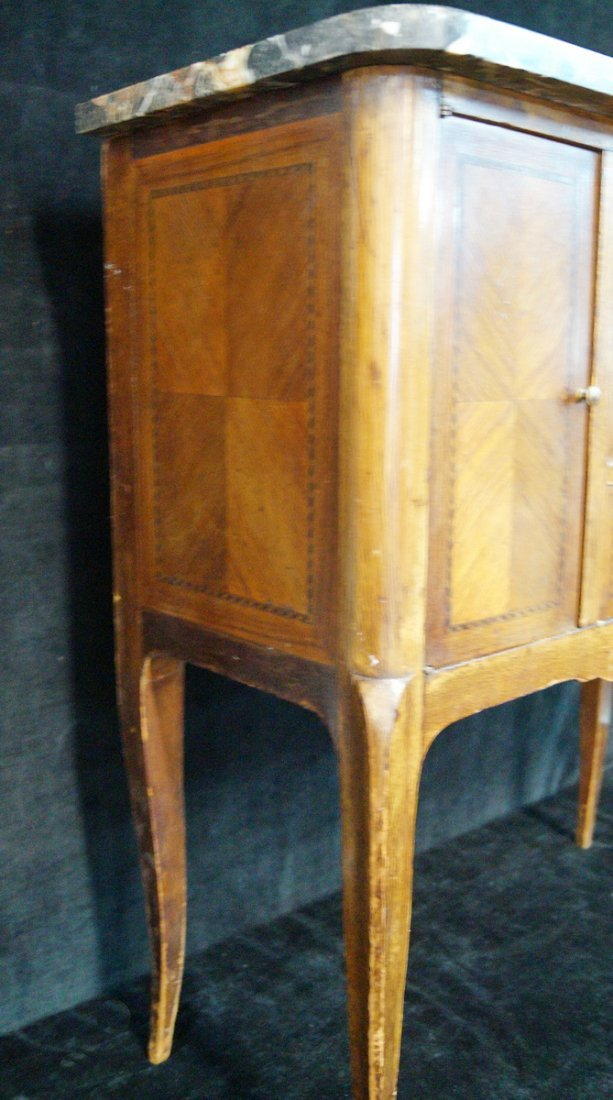 LOUIS XV STYLE MARBLE TOP NIGHT STAND - 5
