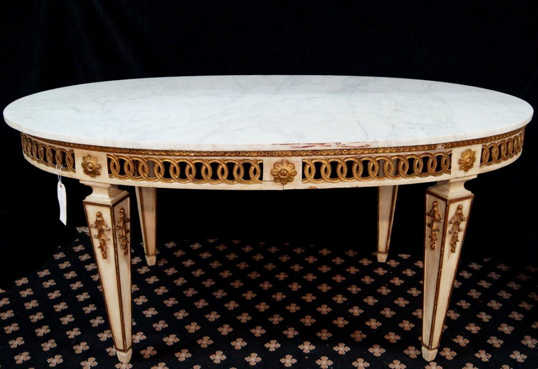 GILT & PAINT DECORATED MARBLE TOP OVAL TABLE - 2